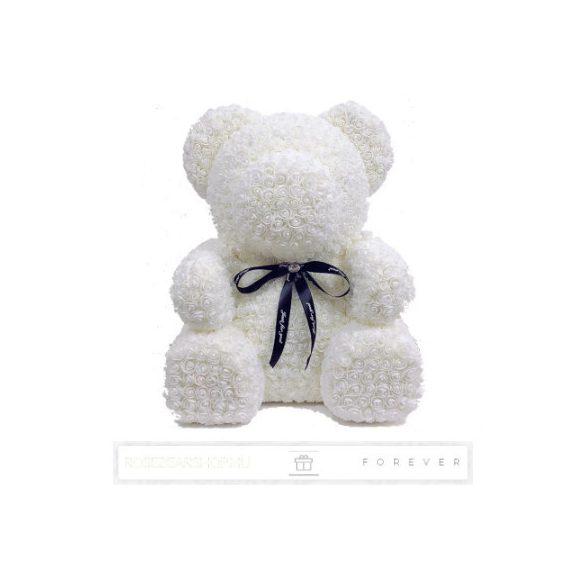 Rose Bear - Fehér színű virág maci / 3D rózsa / Big Bear / 60 cm magasság / celofán díszcsomagolás