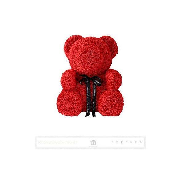 Rose Bear - Piros színű virág maci / 3D rózsa / Big Bear / 60 cm magasság / celofán díszcsomagolás