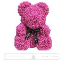 Rose Bear - Ciklámen színű virág maci/ masnival / 3D rózsa / díszdoboz