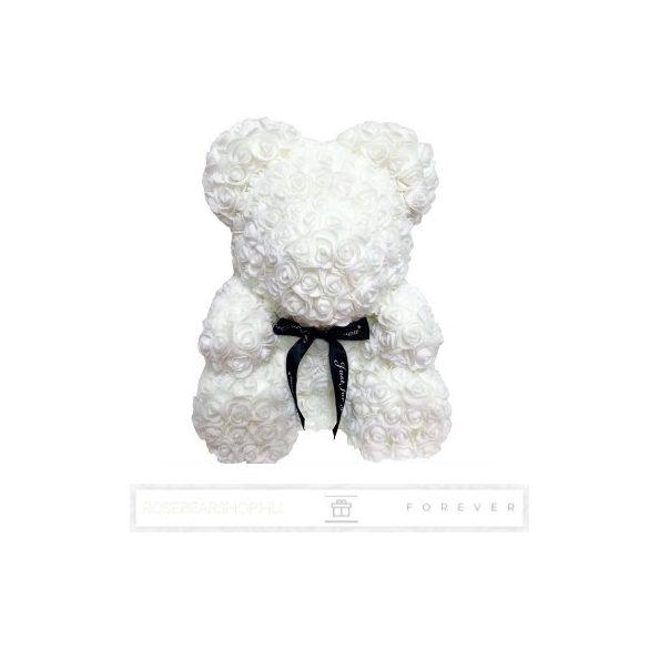 Rose Bear - Fehér színű virág maci/ masnival / 3D rózsa / díszdoboz