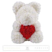 Rose Bear - Fehér színű virág maci/ piros szív / 3D rózsa / díszdoboz