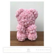 Rose Bear - Babarózsaszín színű virág maci / 3D rózsa / 25 cm magasság /  díszdoboz vagy celofán díszcsomagolás