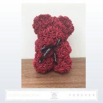 Rose Bear - Bordó színű virág maci / 3D rózsa / 25 cm magasság / díszdoboz vagy celofán díszcsomagolás
