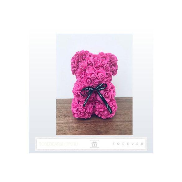 Rose Bear - Ciklámen színű virág maci / 3D rózsa / 25 cm magasság / díszdoboz vagy celofán díszcsomagolás