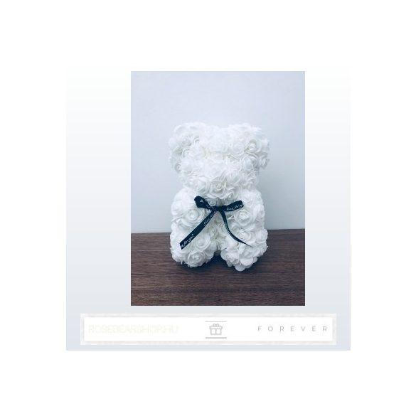Rose Bear - Fehér színű virág maci / 3D rózsa / 25 cm magasság / díszdoboz vagy celofán díszcsomagolás