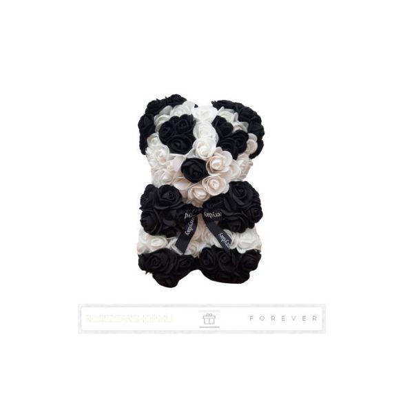 Rose Bear - Fekete-fehér színű virág panda maci / 3D rózsa / 25 cm magasság / díszdoboz vagy celofán díszcsomagolás