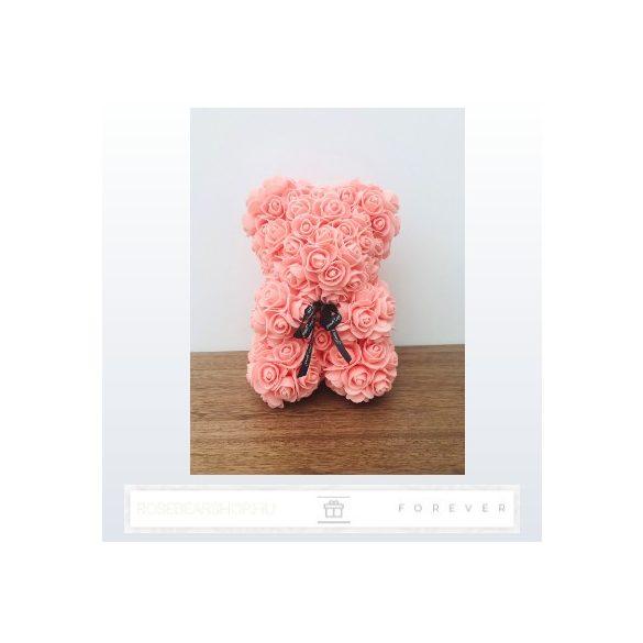 Rose Bear - Lazac színű virág maci / 3D rózsa / 25 cm magasság / díszdoboz vagy celofán díszcsomagolás