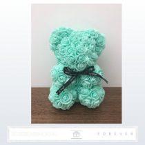 Rose Bear - Menta színű virág maci / 3D rózsa / 25 cm magasság / díszdoboz vagy celofán díszcsomagolás