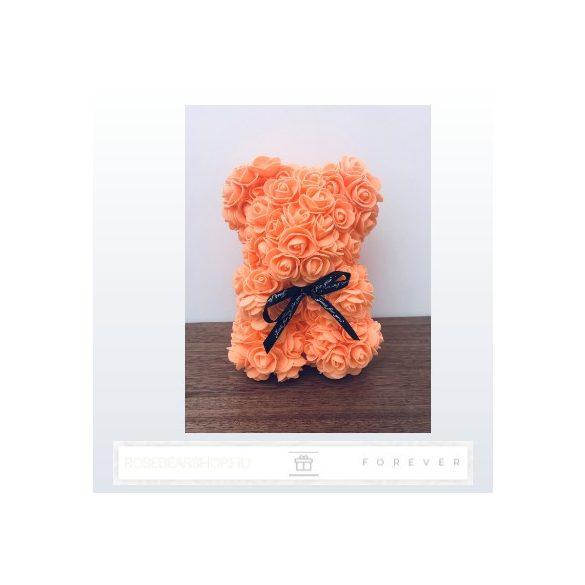 Rose Bear - Narancssárga színű virág maci / 3D rózsa / 25 cm magasság / díszdoboz vagy celofán díszcsomagolás