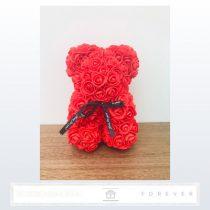 Rose Bear - Piros színű virág maci / 3D rózsa / 25 cm magasság / díszdoboz vagy celofán díszcsomagolás