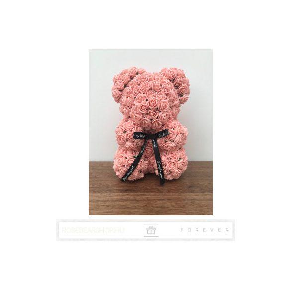 Rose Bear - Púder rózsaszín színű virág maci / 3D rózsa / 25 cm magasság /  díszdoboz vagy celofán díszcsomagolás
