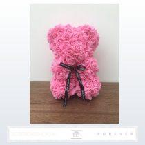 Rose Bear - Rózsaszínű virág maci / 3D rózsa / 25 cm magasság / díszdoboz vagy celofán díszcsomagolás
