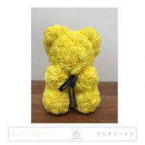 Rose Bear - Sárga színű virág maci / 3D rózsa / 25 cm magasság /  díszdoboz vagy celofán díszcsomagolás