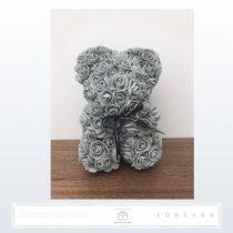 Rose Bear - Szürke színű virág maci / 3D rózsa / 25 cm magasság /  díszdoboz vagy celofán díszcsomagolás