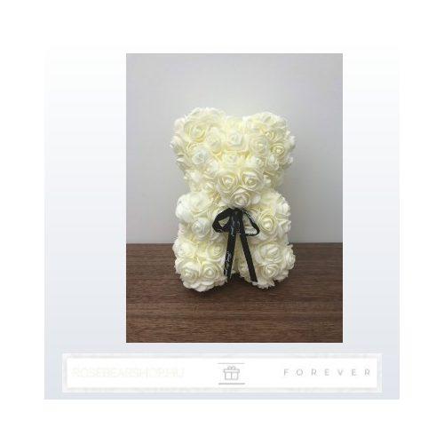 Rose Bear - Törtfehér színű virág maci / 3D rózsa / 25 cm magasság /  díszdoboz vagy celofán díszcsomagolás