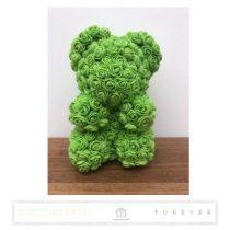 Rose Bear - Zöld színű virág maci / 3D rózsa / 25 cm magasság / díszdoboz vagy celofán díszcsomagolás