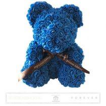 Rose Bear - Királykék színű virág maci/ masnival / 3D rózsa / díszdoboz