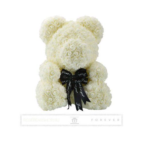 Rose Bear - Krémfehér színű virág maci/ masnival / 3D rózsa / díszdoboz