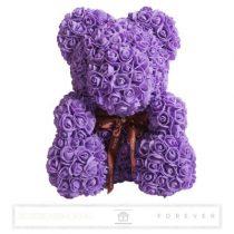 Rose Bear - Lila színű virág maci/ masnival / 3D rózsa / díszdoboz