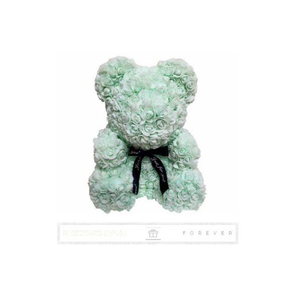 Rose Bear - Mentazöld színű virág maci/ masnival / 3D rózsa / díszdoboz