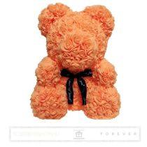 Rose Bear - Narancs színű virág maci/ masnival / 3D rózsa / díszdoboz