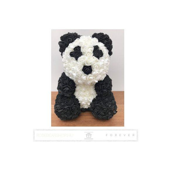 Rose Bear - Panda virág maci/fekete - fehér/ masnival / 3D rózsa / díszdoboz