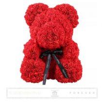 Rose Bear - Piros színű virág maci/ masnival / 3D rózsa / díszdoboz