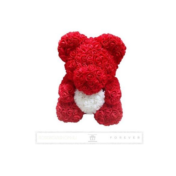 Rose Bear - Piros színű virág maci/ fehér szív / 3D rózsa / díszdoboz