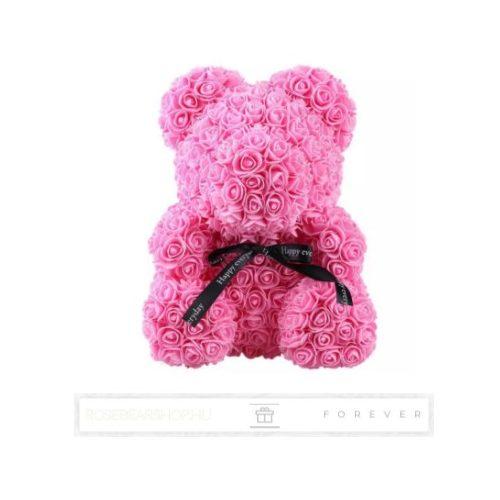 Rose Bear - Rózsaszín színű virág maci/ masnival / 3D rózsa /díszdoboz