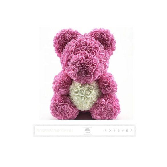 Rose Bear - Rózsaszín színű virág maci/ fehér szív / 3D rózsa / díszdoboz