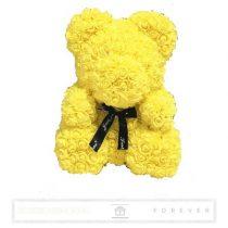 Rose Bear - Sárga színű virág maci/ masnival / 3D rózsa / díszdoboz