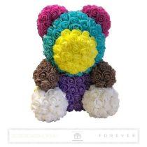 Rose Bear - Több színű virág maci/ tavaszi színek / 3D rózsa / díszdoboz