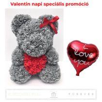 Rose Bear - Szürke színű virág maci/ piros szív / 3D rózsa / díszdoboz plusz ajándék 50 cm-es I Love You lufi