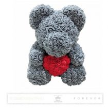 Rose Bear - Szürke színű virág maci/ piros szív / 3D rózsa / díszdoboz
