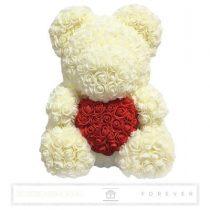 Rose Bear - Törtfehér színű virág maci/ piros szív / 3D rózsa / díszdoboz