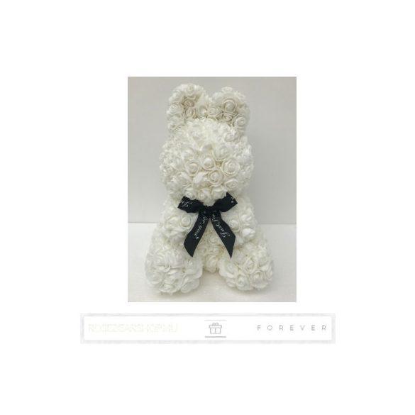 Rose Bunny - Fehér színű virág nyuszi/ masnival / 3D rózsa / 35 cm magas/ díszcsomagolás