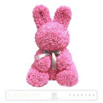 Rose Bunny - Rózsaszín színű virág nyuszi/ masnival / 3D rózsa / 45 cm magas / celofán díszcsomagolás