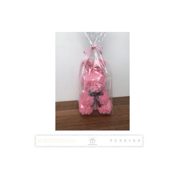 Rose Bunny - Szürke színű virág nyuszi/ masnival / 3D rózsa / 45 cm magas / celofán díszcsomagolás