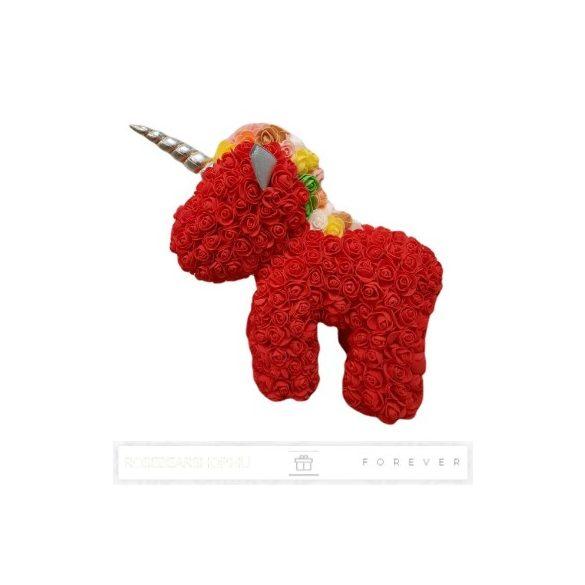 Rose Unicorn - Piros színű virág unicornis színes sörénnyel/ limitált kiadás / 3D rózsa / áttetsző díszdoboz csomagolás