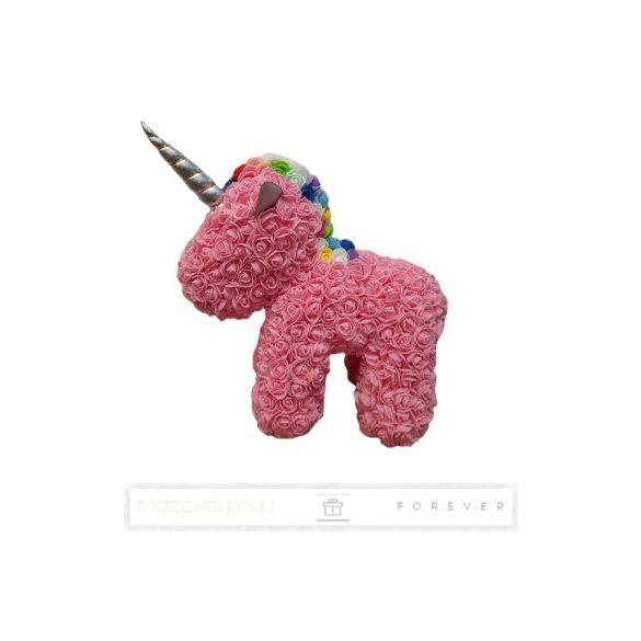 Rose Unicorn - Rózsaszín színű virág unicornis színes sörénnyel/ limitált kiadás / 3D rózsa / áttetsző díszdoboz csomagolás