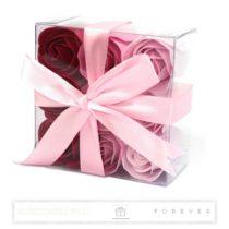 Luxus illatos bordó és rózsaszín szappan rózsák, 9 darab egy átlátszó dobozban
