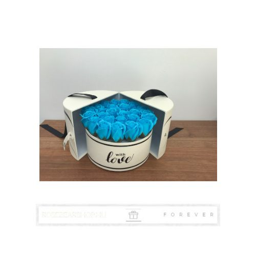 Luxus illatos közepes méretű kék színű szappan rózsák, 24  darab egy kör alakú nyitható díszdobozban