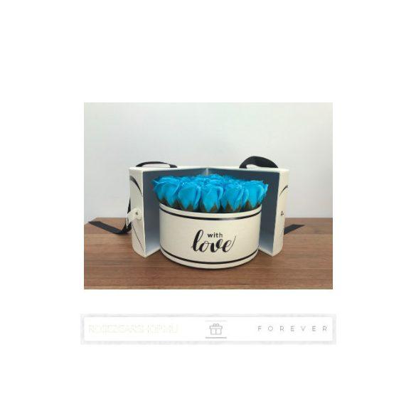 Luxus illatos közepes méretű kék színű szappan rózsák, 25  darab egy kör alakú nyitható díszdobozban