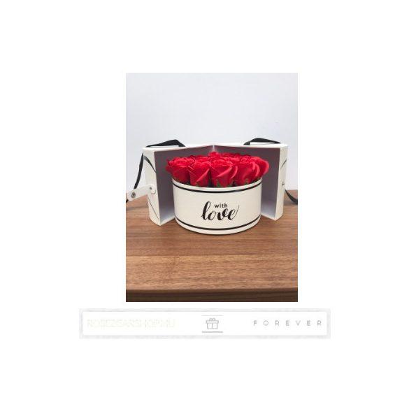 Luxus illatos nagy méretű piros szappan rózsák, 17 darab egy kör alakú nyitható díszdobozban