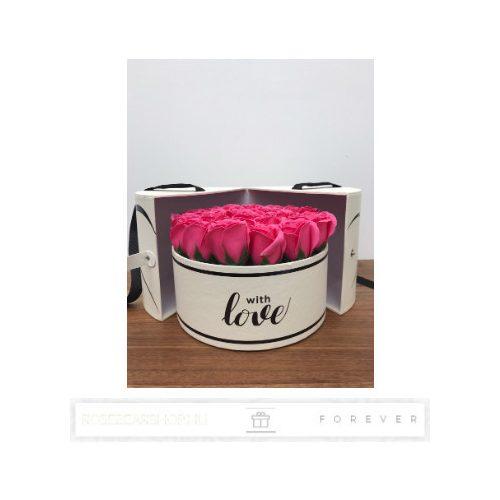 Luxus illatos közepes méretű rózsaszín szappan rózsák, 25  darab egy kör alakú nyitható díszdobozban