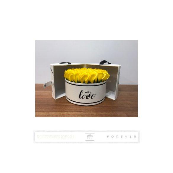 Luxus illatos közepes méretű sárga színű szappan rózsák, 25  darab egy kör alakú nyitható díszdobozban