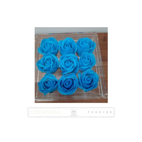 Luxus illatos kék színű szappan rózsák exkluzív kristálytiszta plexi dobozban/9 db rózsa/kihúzható fiók plusz ajándéknak