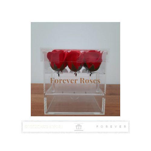 Luxus illatos piros színű szappan rózsák exkluzív kristálytiszta plexi dobozban/9 db rózsa/kihúzható fiók plusz ajándéknak