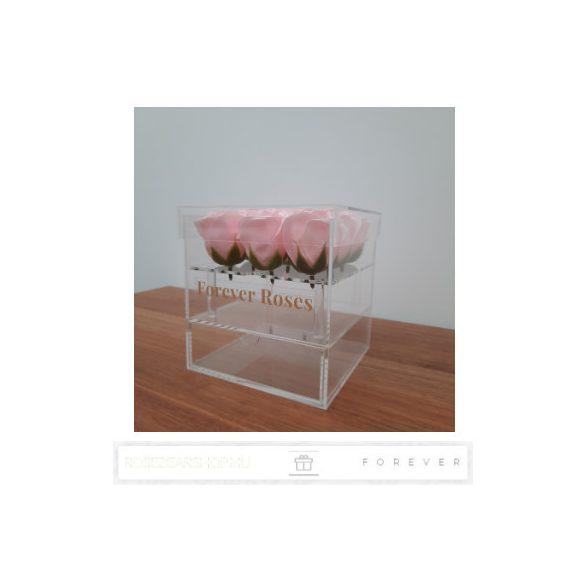 Luxus illatos púder rózsaszín színű szappan rózsák exkluzív kristálytiszta plexi dobozban/9 db rózsa/kihúzható fiók plusz ajándéknak