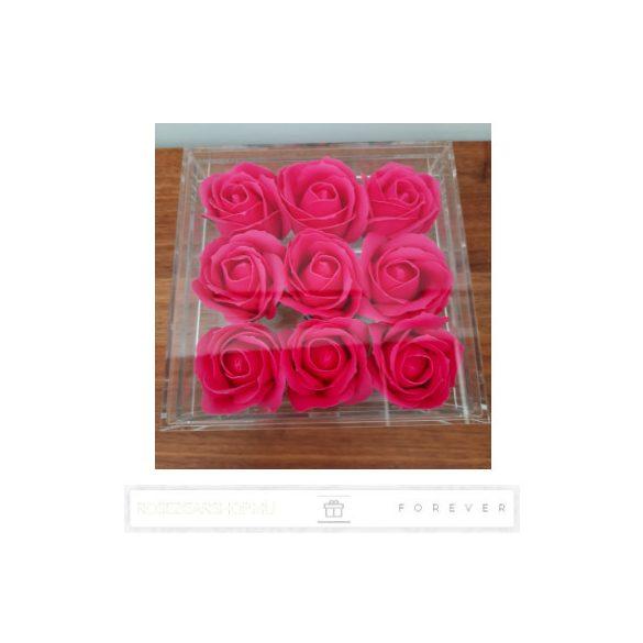 Luxus illatos rózsaszín színű szappan rózsák exkluzív kristálytiszta plexi dobozban/9 db rózsa/kihúzható fiók plusz ajándéknak